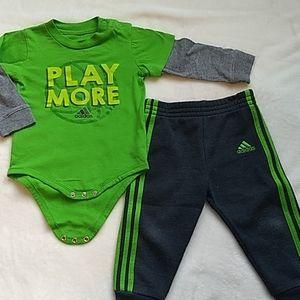 Adidas long sleeve onesie/sweatpant set